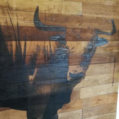 Holz Kuhkopf Wanddruck Verlaufdruck Ton in Ton